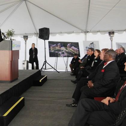 Governor Jay Nixon speaking at Cerner Trails Ground Breaking (Photo courtesy of Gould Evans)