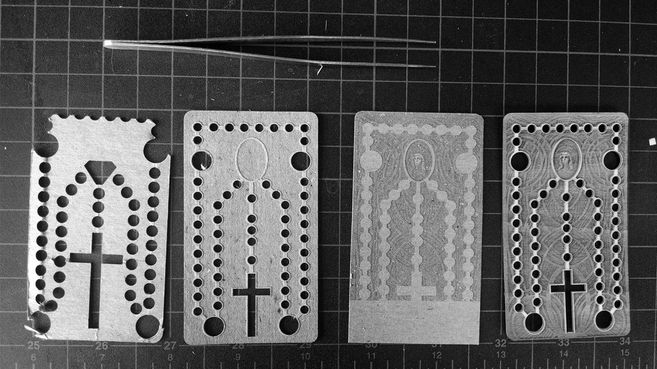 Showing the progress from the first idea, to the final laser cut.