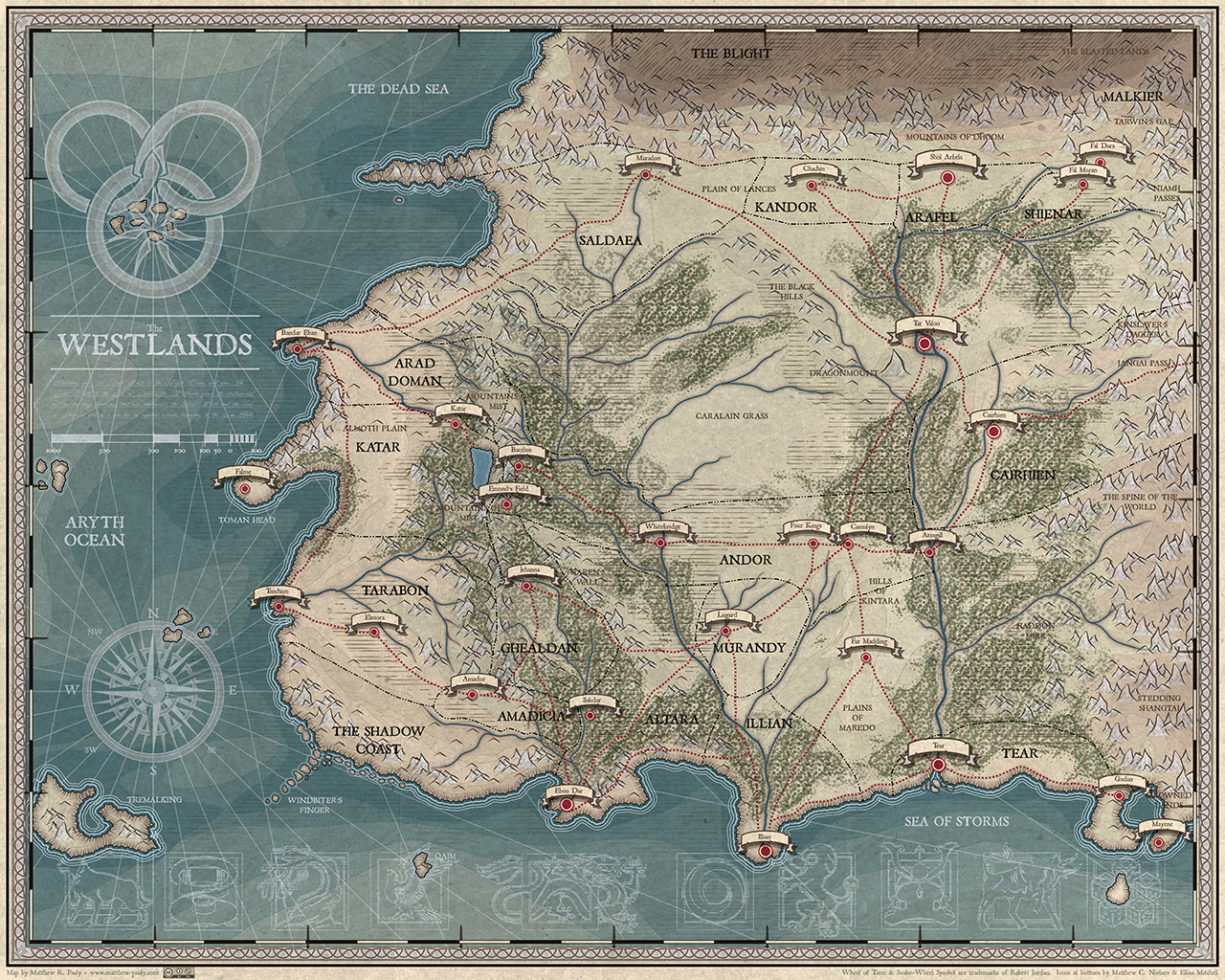 Wheel of Time Detailed Map - Matthew R. Pauly